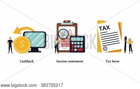 Accounting And Bookkeeping Cartoon Web Icons Set. Money Online Refund. Financial Consulting. Cashbac