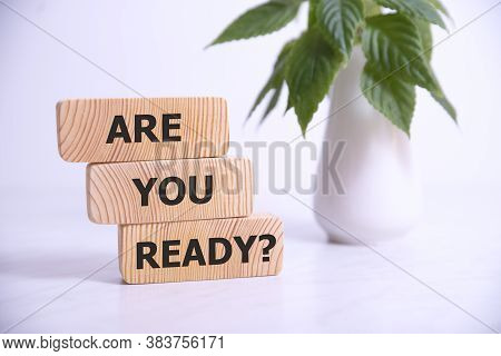 The Text Are You Ready Appearing On Wooden Blocks, Business Concept