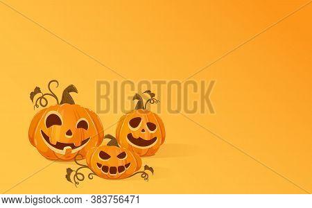 Three Halloween Pumpkins On Orange Background. Jack O' Lantern With Scary Smiles. Halloween Theme. I