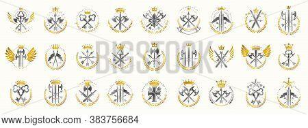 Weapon Logos Big Vector Set, Vintage Heraldic Military Emblems Collection, Classic Style Heraldry De
