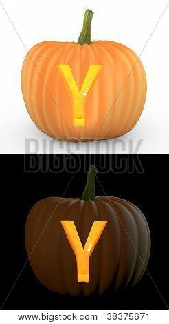 Y Letter Carved On Pumpkin Jack Lantern