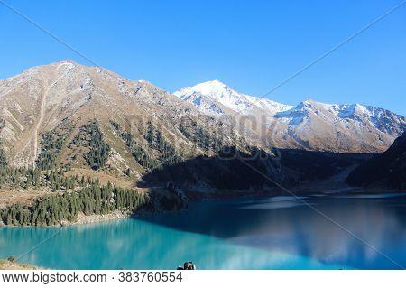 Almaty, Kazakhstan: Spectacular Scenic Big Almaty Lake, Tien Shan Mountains In Almaty.
