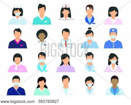 Doctor And Nurse  Icons Set.professional Doctor Avatars Isolated On White Background. Medicine Profe