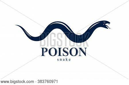 Venomous Snake Vintage Tattoo, Vector Logo Or Emblem Of Aggressive Predator Reptile, Deadly Poisoned