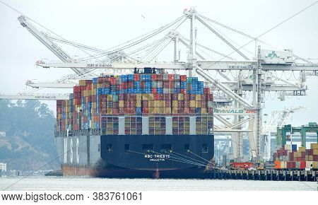 Oakland, Ca - July 31, 2020: Msc Trieste Loading At The Port Of Oakland. Mediterranean Shipping Comp