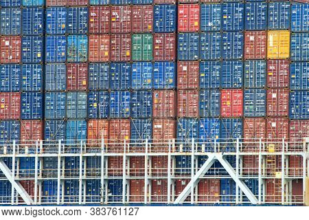 Oakland, Ca - Aug 4, 2020: Containers Stacked On Cargo Ship Cma Cgm Thalassa. The Average Container