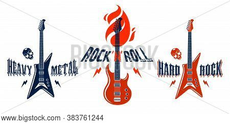 Hard Rock Emblems With Electric Guitar Vector Logos Set, Concert Festival Or Night Club Labels, Musi