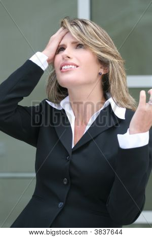 Business Woman Worried About Economic Crisis