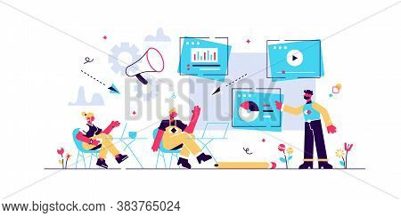 Infographics, Statistics Diagrams And Charts Visualization. Digital Presentation, Office Online Meet