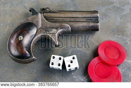 Antique Gamblers Derringer Pistol Made In 1865 With Dice..