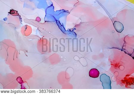Red Ethereal Paint Texture. Liquid Ink Wash Background. Pink Abstract Drop Painting. Contemporary Co