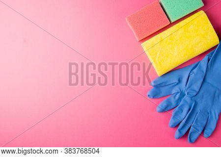 Colorful Cleaning Set For Different Surfaces In Kitchen, Bathroom And Other Rooms. Empty Place For T