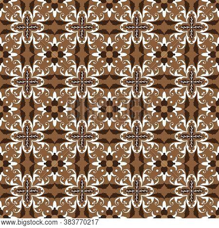 Unique Floral Pattern On Solo Batik With Elegant Brown Color Design.