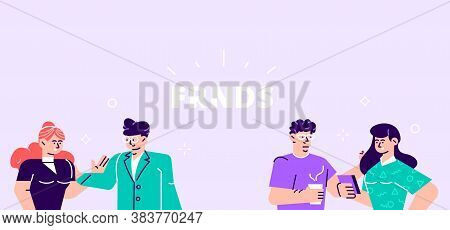 Vector Illustration In Flat Cartoon Style. Men And Women Sitting At Desk And Standing In Modern Offi