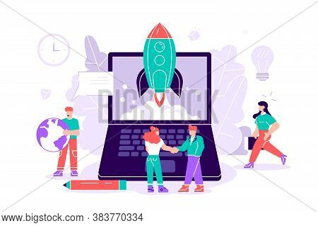 Flat Vector Illustration Isolated.concept Startup Launch Of A New Business For Web Page, Banner, Pre
