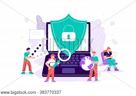 Flat Vector Isolated On White. Concept Data Protection, Internet Security For Web Page, Banner, Pres