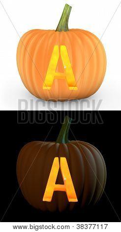 A Letter Carved On Pumpkin Jack Lantern