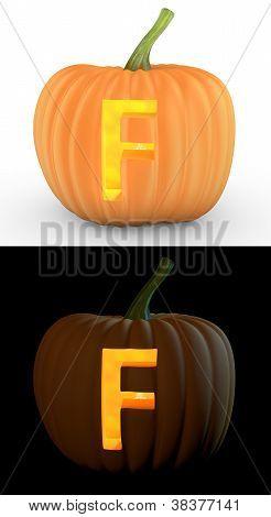 F Letter Carved On Pumpkin Jack Lantern
