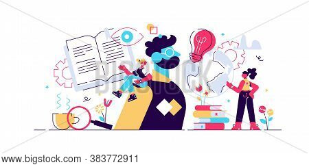 Cognition Vector Illustration. Flat Tiny Mental Learning Persons Concept. Symbolic Information Knowl