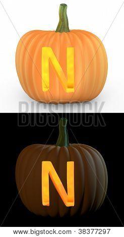 N Letter Carved On Pumpkin Jack Lantern