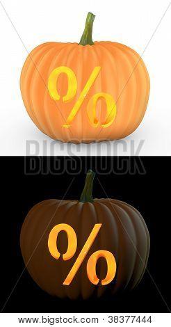 Percent Symbol Carved On Pumpkin Jack Lantern