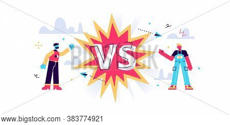 Versus Split Screen Abstract Concept, Flat Tiny Persons Vector Illustration. Two Competitors Battle