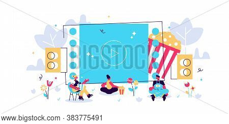 Movie Night With Friends. Watching Film On Big Screen With Sound System. Open Air Cinema, Outdoor Mo