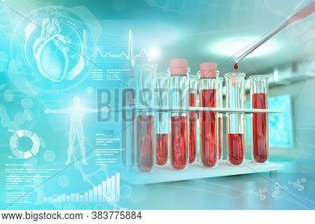 Medical 3d Illustration, Test-tubes Vials In College Facility - Blood Gene Test For Blood Urea Nitro