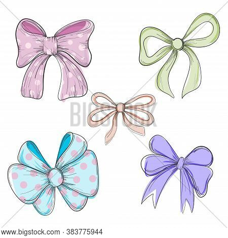 Collection Of Hand Drawn Vector Bows And Ribbons. Vector Illustration. Cute Freehand Colored Bow Doo