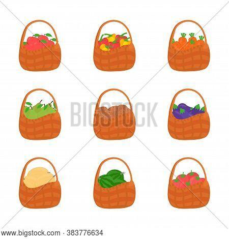 Vegetable And Fruits Harvest, Fresh Food Natural. Set Icon, Fruit And Vegetable Basket. Vector Illus