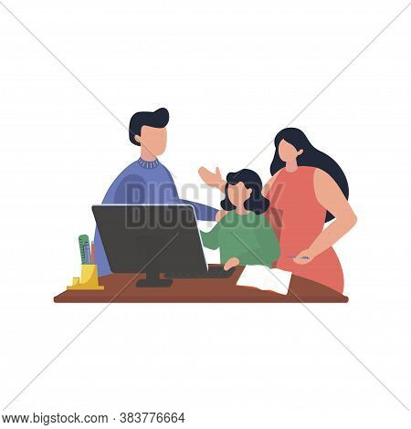 Home Learning With Parents In Quarantine Period. Mother And Father Is Help To Kid Doing Homework. Ve