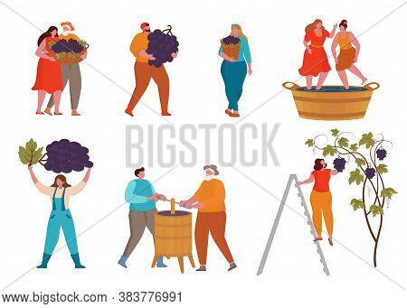 Grape Wine Product Process With Small People. Grape Harvest. Winemaking Concept. Vector Illustration