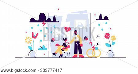Divorce Vector Illustration. Flat Tiny Relationship Breakup Persons Concept. Marriage Separation Wit