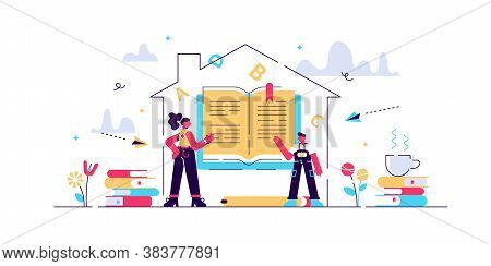 Homeschooling Vector Illustration. Flat Tiny Mind Education System Persons Concept. Creative And Sma