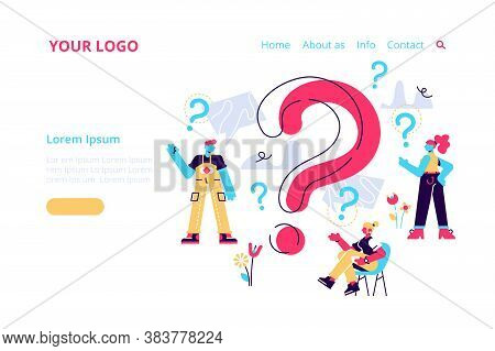 Question Mark. Business People Asking Questions Around A Huge Question Mark. Vector Illustration.for