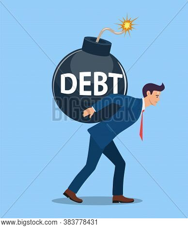 Businessman Carries A Bomb Ready To Explode. Vector Illustration In Flat Style.