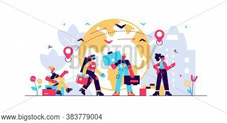 Immigration Vector Illustration. Flat Tiny Crisis Escaping Persons Concept. International And Global