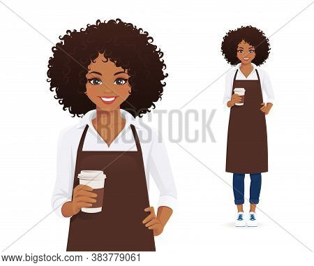 Waitress Or Barista. Smiling Woman With Afro Hairstyle In Black Apron Holding Coffee Cup Isolated Ve