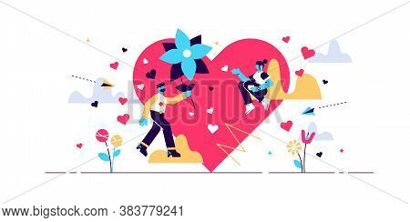 Love Vector Illustration. Flat Tiny Romance Feelings Symbols Person Concept. Abstract Flying Happine