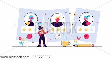 Recruitment Ageism Vector Illustration. Tiny Old Persons Segregation Concept. Unfair Economical Empl