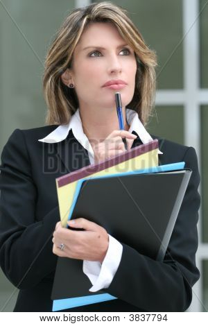 Business Woman Worried About Economic Problem, Outdoors