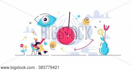 Hypnosis Vector Illustration. Flat Tiny Therapy Condition Persons Concept. Altered State Of Mind Or