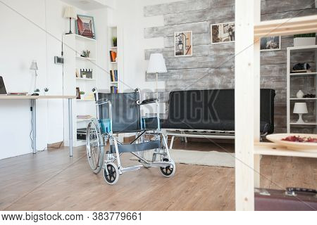 Wheelchair For Disabled People In Private Hospital Room. No Patient In The Room In The Private Nursi