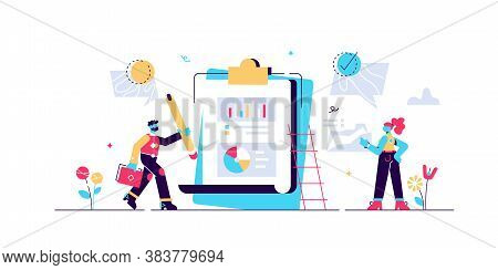 Accept Vector Illustration. Flat Tiny Positive Check Rate Persons Concept. Abstract Approved Documen