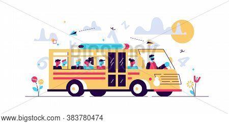 School Bus Vector Illustration. Flat Tiny Pupil Transport Persons Concept. Classical Full Student Va