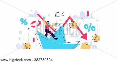 Bankruptcy Vector Illustration. Flat Tiny Person Concept With Broke Company. Sinking Business Proces
