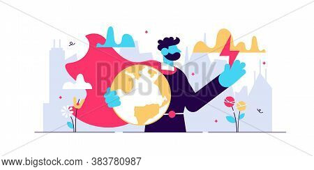 Hero Vector Illustration. Flat Tiny Strong Rescue Defender Persons Concept. Abstract Earth Security