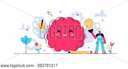 Positive Thinking Vector Illustration. Flat Tiny Optimistic Persons Concept. Happy Thought Power To