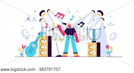 Singing Vector Illustration. Flat Tiny Musical Performance Persons Concept. Abstract Sound Concert F