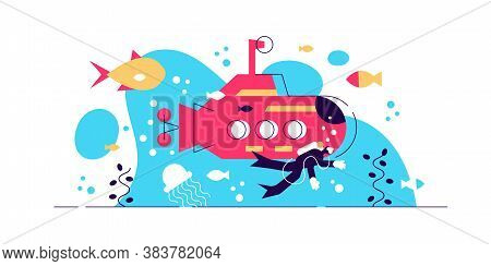 Oceanography Vector Illustration. Flat Tiny Water Life Study Person Concept. Science About Underwate